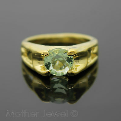 Yellow Gold Plated Round Solitaire 8Mm Light Green Dress Cocktail Ring Size 7.5