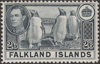 Falkland Islands 1938 KGVI Penguins 2sh6d Slate Mint SG160 cat £60