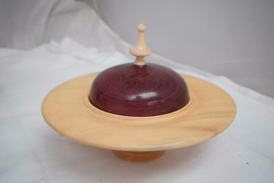 "David Lowe Hand Turned Lime & Purpleheart Pedistal Plate Dish & Cover 10 1/2"" D"