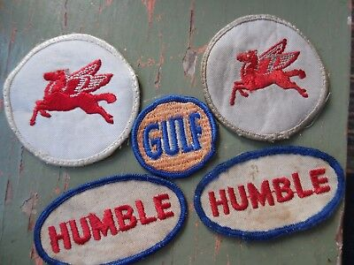 Lot Of 5 Cloth Patches~Automotive~Used~Humble, Gulf, Mobil Pegasus~Embroidered