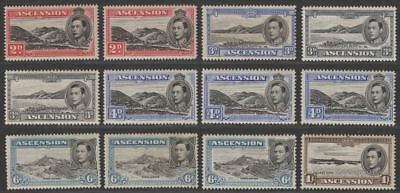 Ascension 1938-53 King George VI Selection to 1sh Mint inc perfs, shades