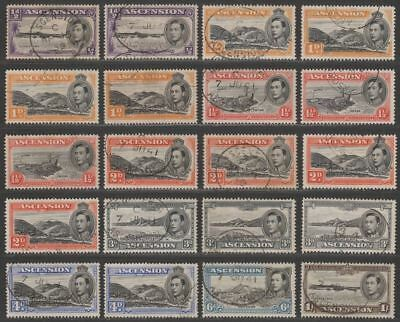 Ascension 1938-53 King George VI Selection to 1sh Used inc perfs, shades