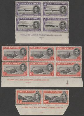 Ascension 1944 King George VI ½d, 1½d Imprint Blocks, 2d Pair Perf 13 Mint