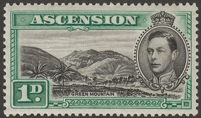 Ascension 1938 KGVI Green Mountain 1d Black and Green Mint SG39 cat £45