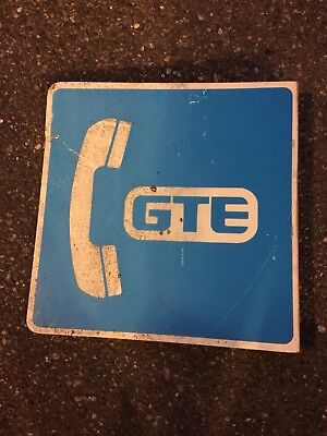 Vintage Antique GTE Telephone Booth Bolt On Sign Large Big 2-sided Two Sides Old