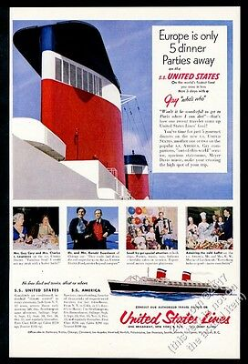 1953 SS United States ship big funnels photo US Lines vintage print ad