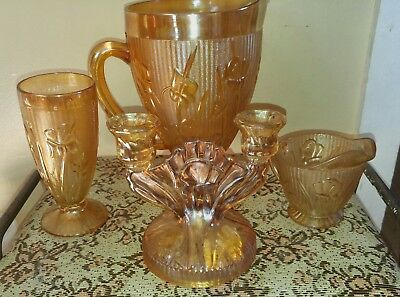 Marigold Carnival Glass Iris Herringbone Pitcher gobblet sugar and candle holder