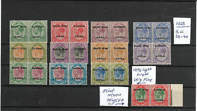 South West Africa @ 1923 S.g 29-40 Pairs  @ Wv 2433