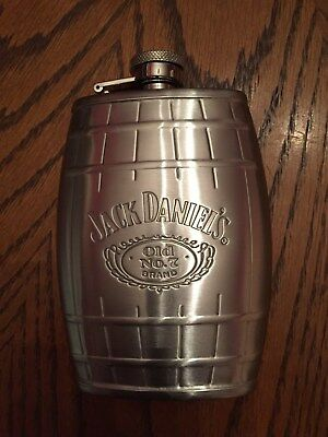 JACK DANIELS Brushed Stainless Steel SS 6oz FLASK NEW CONDITION
