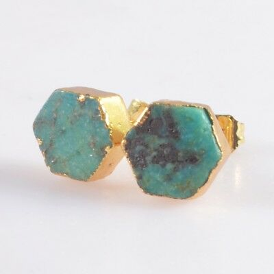 9mm Hexagon Natural Genuine Turquoise Stud Earrings Gold Plated H103662