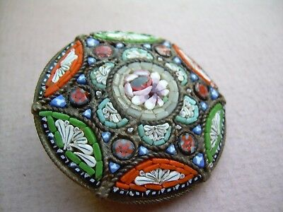 Antique Edwardian/Art Deco Large Micro Mosaic Early Brooch Marked Italy.