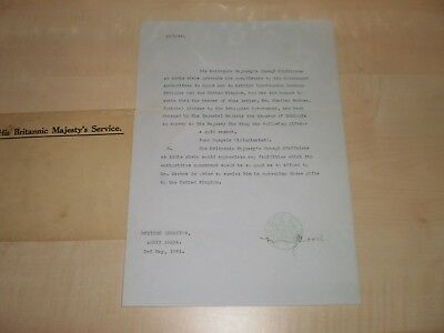 1944 Original Letter From Haile Selassie Office Addis Ababa Giving Gifts To King