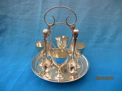 Antique ~ Silver Plate Egg Cup and Spoon Set & Stand