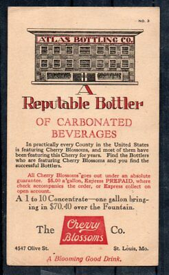 USA stationery card pre-printed ATLAS BOTTLING of Carboned Beverages St.Louis Mo
