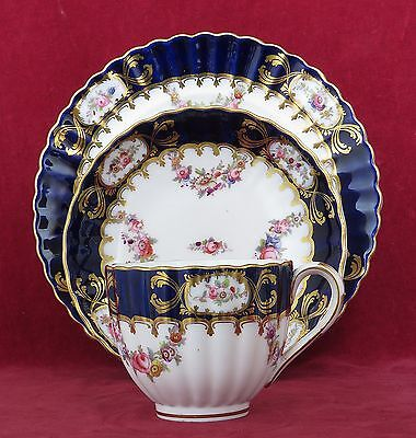Antique Coalport Porcelain Fluted Tea Trio Pattern 6/66, Roses & Flowers 1855-60
