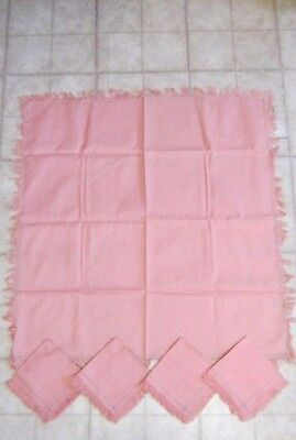 Vintage Tablecloth with Four Matching Napkins, Rose & Blue Stitched, 34 x 34 in.