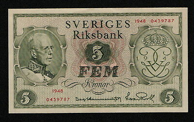 SWEDEN (P41a) 5 Kronor 1948 XF+ COMM.