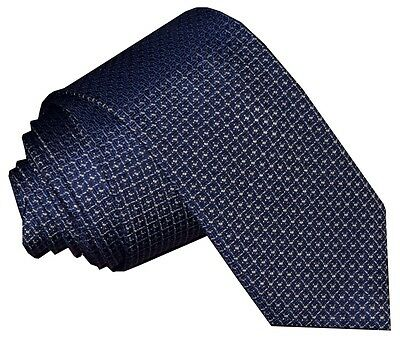 NEW BRIONI BLUE & SILVER 4 POINT STAR 100% SILK HAND MADE SKINNY NECK TIE 2.75in