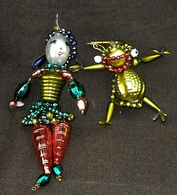 Vintage Mercury Blown Glass Bead Wire Strung PRINCESS & FROG Christmas Ornaments