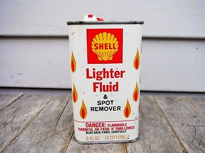 VINTAGE 1/2 pint SHELL OIL CO. LIGHTER FLUID MOTOR OIL CAN  METAL! AWESOME!
