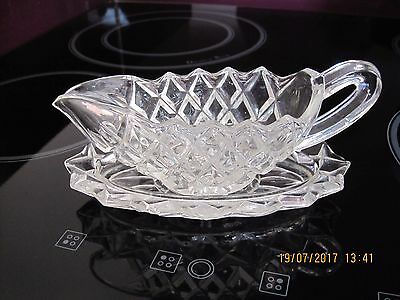 Victorian Small Glass Sauce Boat With Under Plate,vgc