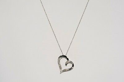 .06Ct Natural Round Cut Diamond Cluster Heart Necklace .925 Sterling Silver