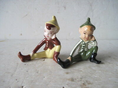 Vintage Napco? Gilner? SET of 2  boy elf pixie figures stripes coat &  brown sit