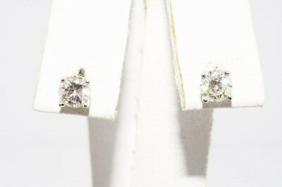 $1,500 .57Ct Natural Round Cut White Diamond Stud Earrings 14K White Gold