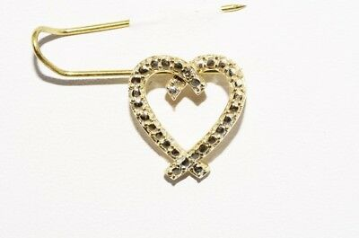 .01Ct Natural Round Cut Diamond Solitaire Heart Pendant 10K Yellow Gold