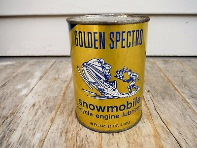 Vintage 1 Pint 2 Oz Golden Spectro 2 Cycyle Snowmobile Oil Can Full Metal Neat!