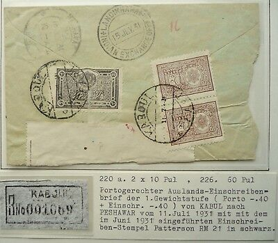 Afghanistan 1931 Registered Postal Cover From Kaboul Kabul To Peshawar -See!