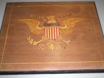 Outstanding Marquetry Inlaid Wood Depiction of an American Eagle