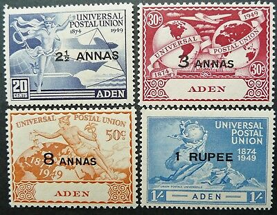 ADEN 1949 75th ANNIV. UPU STAMP SET - MLH - SEE!