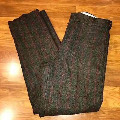 Vtg Mens 36 34 Unfinished Hem WOOLRICH Plaid Heavy Wool Outdoor HUNTING pants
