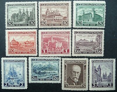 CZECHOSLOVAKIA 1928 10th ANNIVERSARY STAMP SET - MNH - SEE!