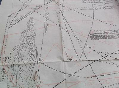 Rare Victorian 1800s vintage ball gown & swim suit French sewing pattern sheet