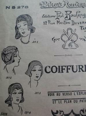 Vintage flapper original 1920s French sewing pattern 4 cloche beret hats
