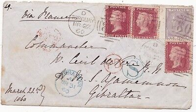 1860 6d & 3 x 1d STARS TORQUAY TO GIBRALTAR S IN CIRCLE = OVERLAND BY SPAIN RARE
