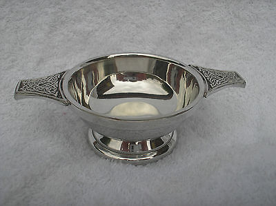 "3""pewter Quaich Bowl With Celtic Handles"