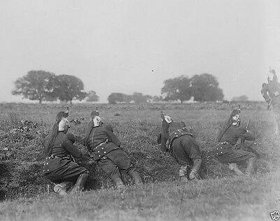 French dragoons seeking cover on the battlefield 1914 World War I 8x10 Photo
