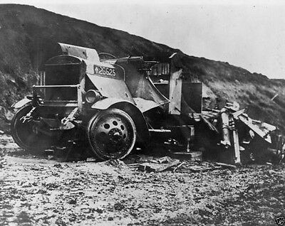 Destroyed German military transport vehicle at front World War I WWI 8x10 Photo