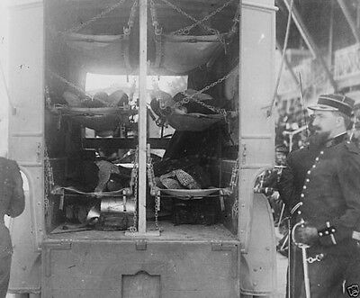 Wounded soldiers in back of a French Army ambulance 1914 World War I 8x10 Photo