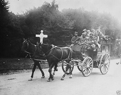 Wounded French soldiers in a horse-drawn ambulance 1914 World War I 8x10 Photo