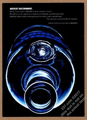 2004 Absolut Discernment vodka bottle photo vintage print ad