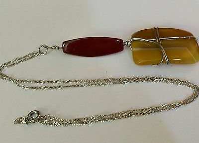 Sterling chain & Large Gemstones Pendant