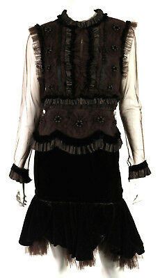 NAEEM KHAN Dark Brown Velvet & Tulle Ruffle Top & Skirt Outfit Set 10