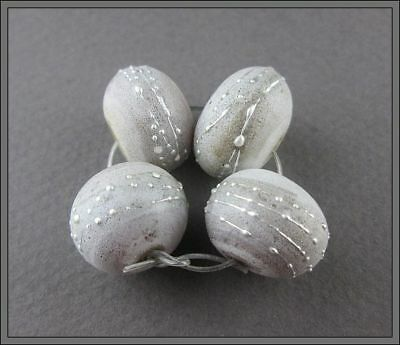 Set Of 4 Beads ~ Limestone ~  By Soul Of Glass OOAK SRA