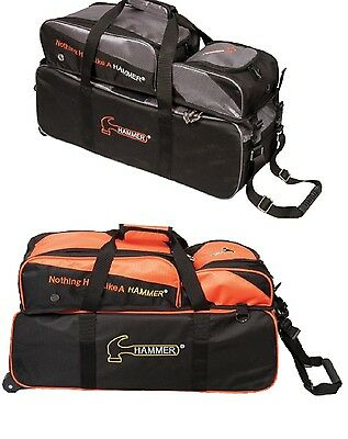 TWO Hammer 3 Ball Tote Bowling Bags with shoe pocket 1 Orange & 1 Carbon