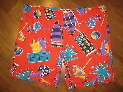 Vtg 80s 90s Mens LARGE Red BRIGADE Beach jams Surf Swim suit trunks board shorts