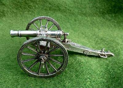"VERY UNUSUAL 4"" LONG SOLID SILVER MODEL OF A FIELD GUN - LONDON 1982 - OVER 4oz"